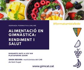 Cartell de Alimentació en gimnàstica. rendiment i salut